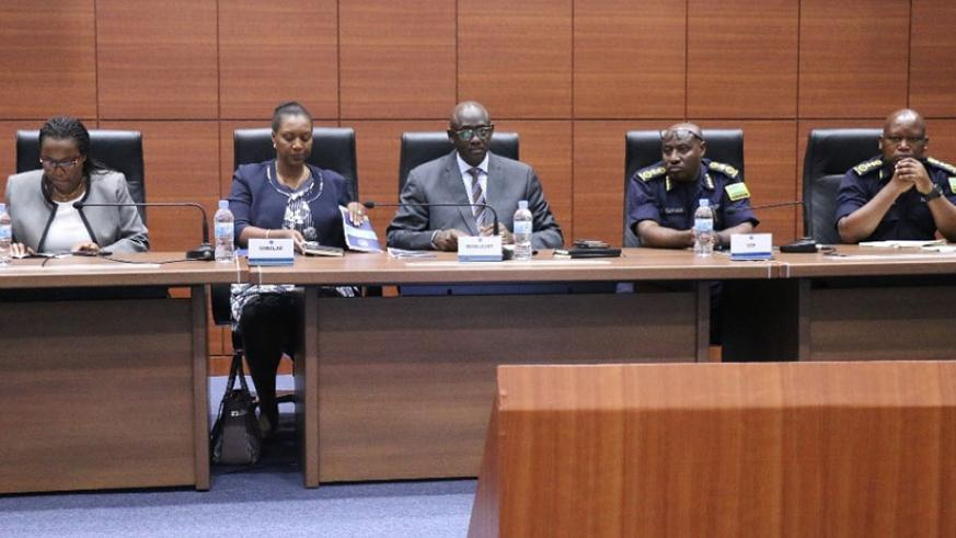 Ministers; Geraldine Mukeshimana of Agriculture, Francine Tumushime of Lands and Forestry, Johnston Busingye of Justice, IGP Gasana and DIGP in charge of Administration and Personn....
