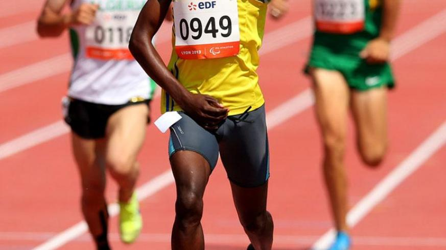 Hermas Muvunyi celebrates after striking gold at the 6th IPC-World Championships in Lyon, France in 2013. (File)