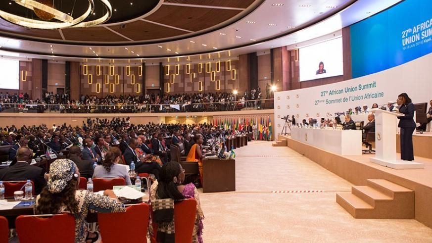 Delegates during the 27th African Union Summit in Kigali in July last year. (File)