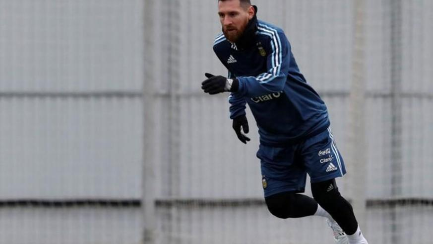 Argentina's Lionel Messi attends a training session ahead of the friendly match against Russia. Net photo