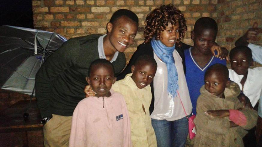Uwizirerera with some of the children she has taken off the street.