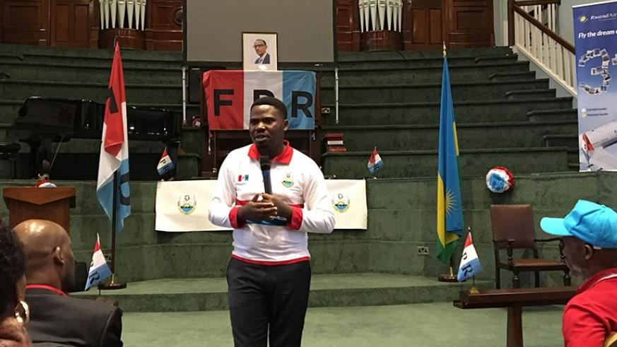 Bamporiki addresses the retreat in Coventry on Saturday. Courtesy.