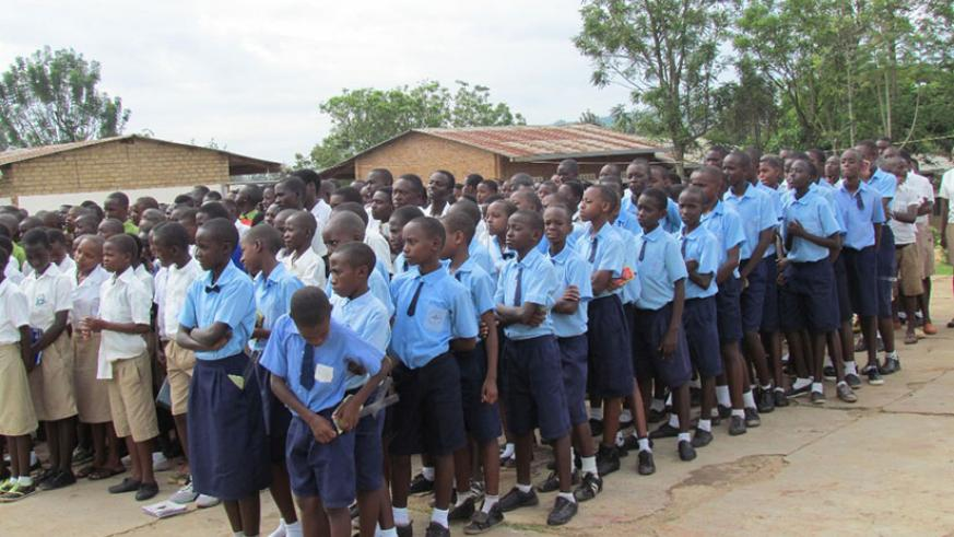 Pupils from GS Nyagatare ahead of the national exams yesterday. The exams were launched here at the national level by State Minister  for Primary and Secondary Education Isaac Muny....