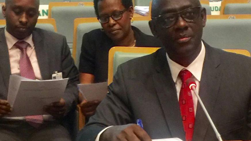 Minister Busingye during the meeting in Addis. / Courtesy