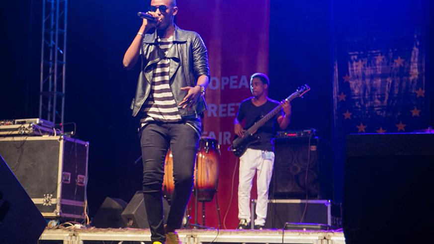 Yvan Buravan's voice range is incredible, and he's also a very talented songwriter. The singer was performing with a band at a past event in Kigali. /File.