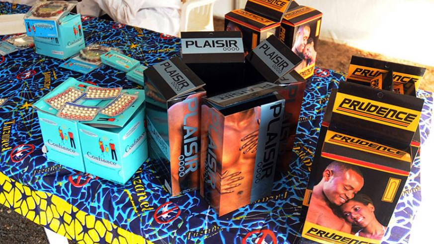 Contraceptives displayed at a stall during a family planing campaign at Amahoro indoor stadium, last year. / File