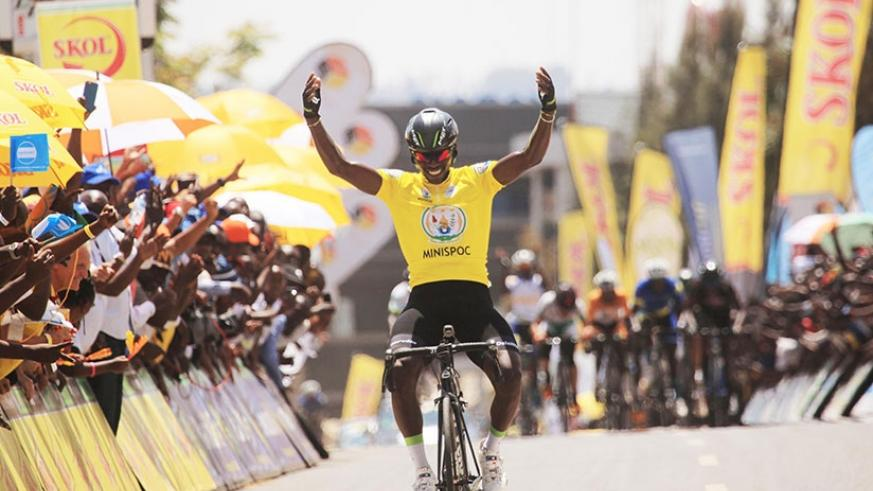 Tour du Rwanda 2017 winner Joseph Areruya celebrates the victory as he crossed the finish line in the final stage on Sunday. S. Ngendahimana