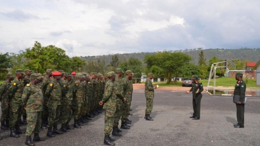 Brig Gen V Gatama meet officers and troops he is leading to Sudan