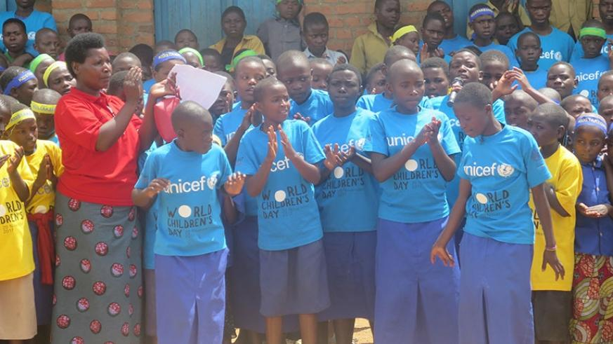 Children took part in different activities to highlight how children's right are abused. This was during the World Children's Day celebrations in Rubavi District on Monday. (Eddie Nsabimana)
