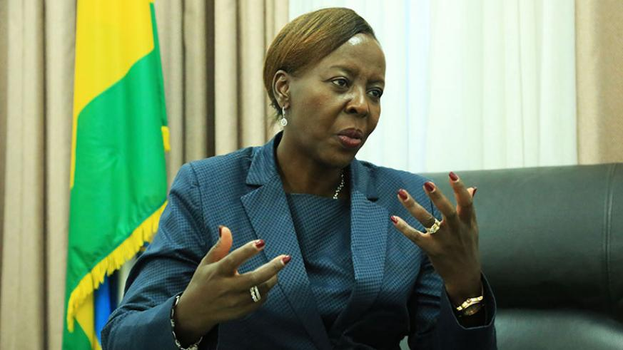 Minister Mushikiwabo speaks to this newspaper about Rwanda's offer to host immigrants in Libya and talks with Israel yesterday. (Sam Ngendahimana)