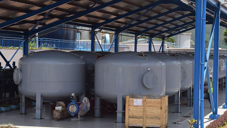 Containers of a 100% safe water at Nzove Water Treatment Plan. (All photos by Joseph Mudingu)