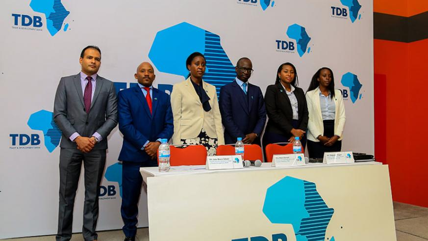 TDB director for deal structuring and financial modeling Diagne Mabouba (third right), Kamari and Rwanda Social Security Board deputy director general in charge of funds management....