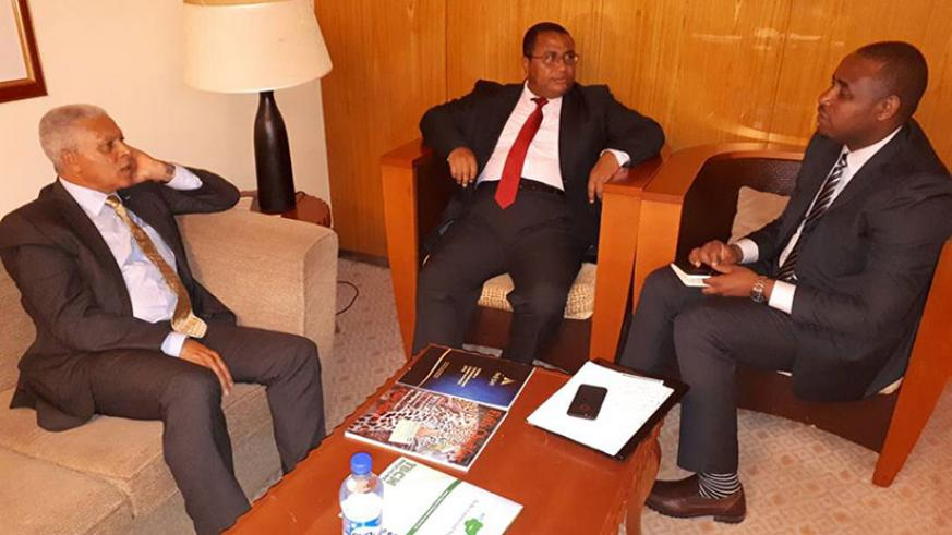 Cape Verde's Minister of Economy and Employment Jose da Silva Goncalves (left)  and Uwihanganye (right) after signing the deal. / Courtesy