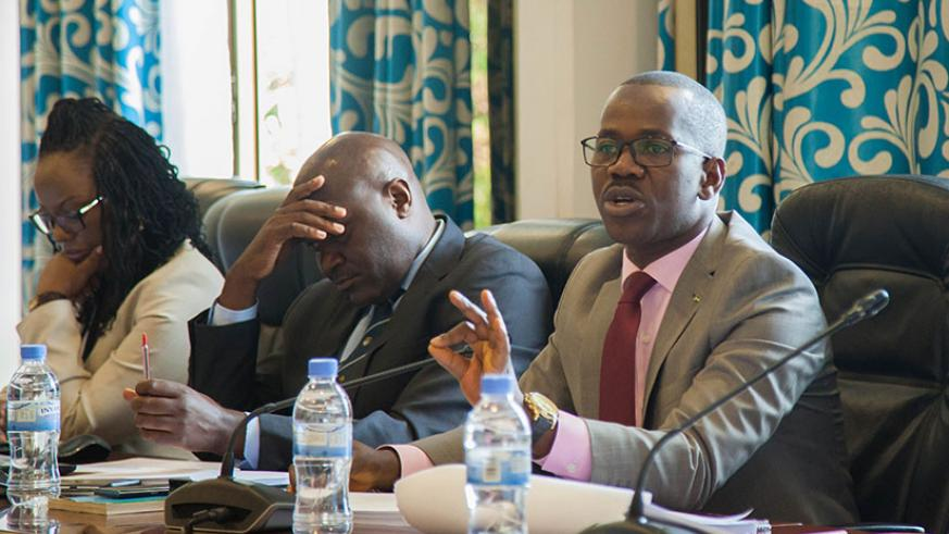 Minister Uwizeyimana addresses MPs about the Penal Code in Parliament yesterday. / Nadege Imbabazi