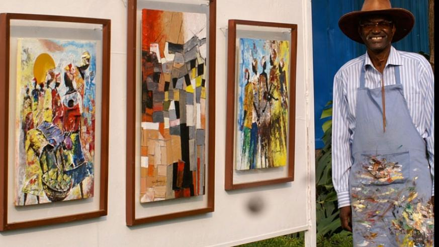 Veteran visual artist, Epa Binamungu displays some of his paintings. Courtesy.