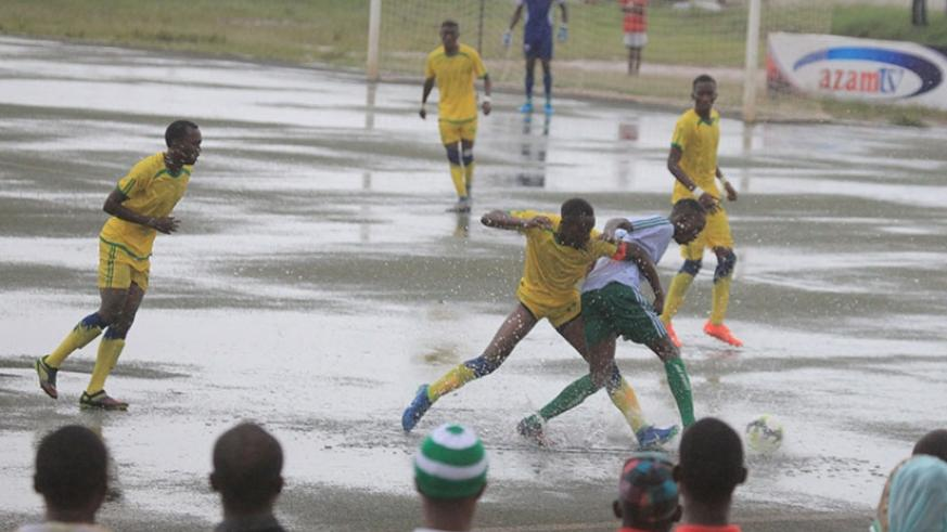 The game between league leaders SC Kiyovu and Marines FC on Saturday was washed off by the afternoon heavy downpour after 34 minutes. / Sam Ngendahimana