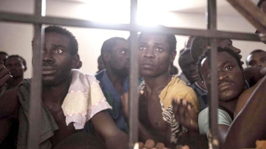 Some of the immigrants waiting to be rescued from Libyan warehouses. Net photo.