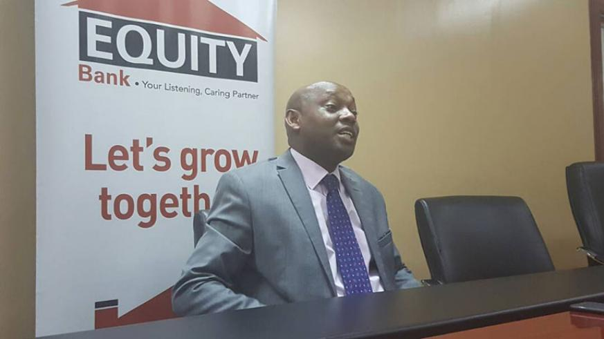 Equity bank chief Hannington Namara speaks at an earlier event. / Lydia Atieno