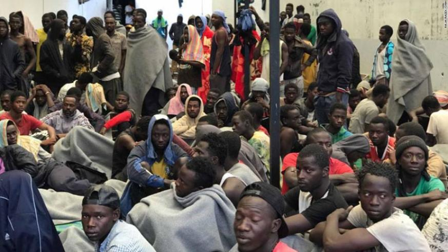 Some of the immigrants waiting to be rescued from Libya. / Net Photo