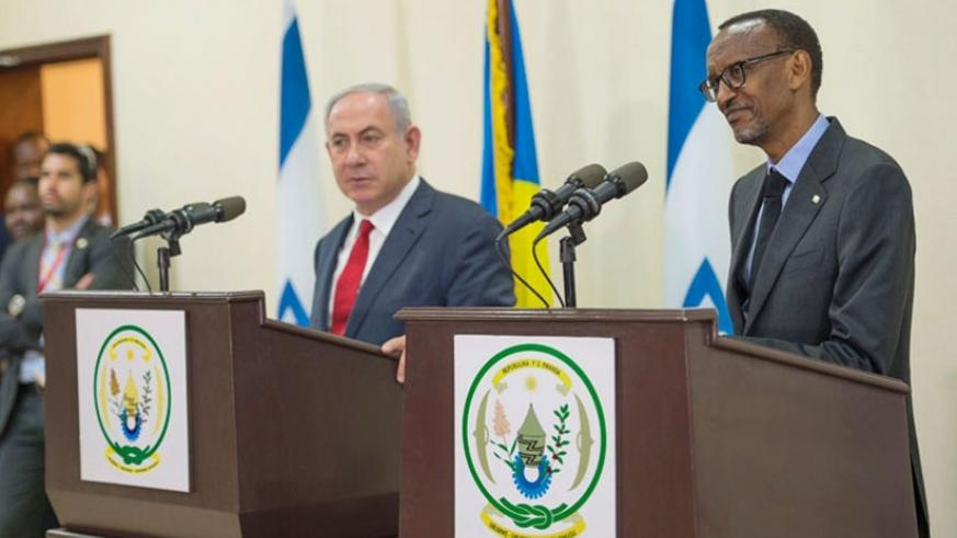 President Kagame and Israel Prime Minister Benjamin Netanyahu address a joint news conference in Kigali during the latter's visit to Rwanda in July last year. (Village Urugwiro)