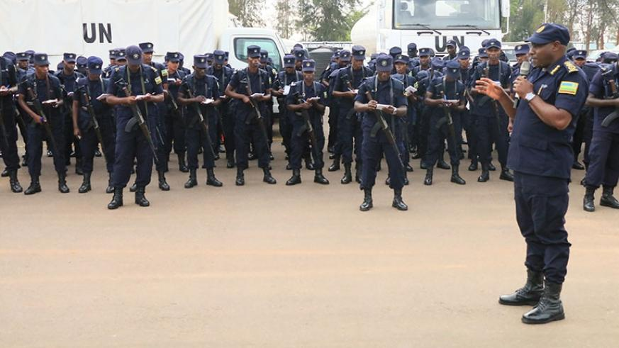 Some of the officers take notes as IGP Gasana briefs them (Courtesy photo)