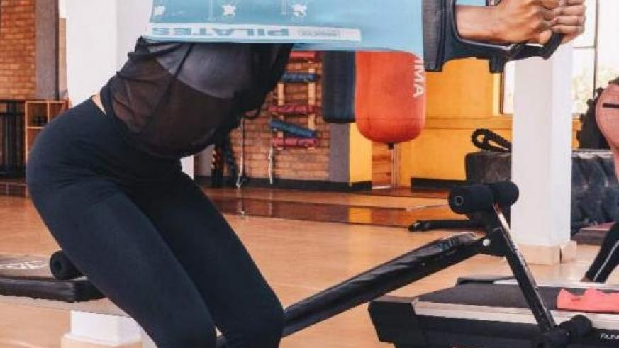 Uwimana working out in the gym. Courtesy photos
