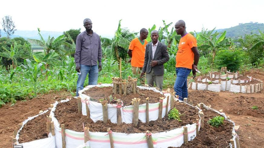 A demonstration of how a kitchen garden can be built. Jean De Deu Nsabimana.