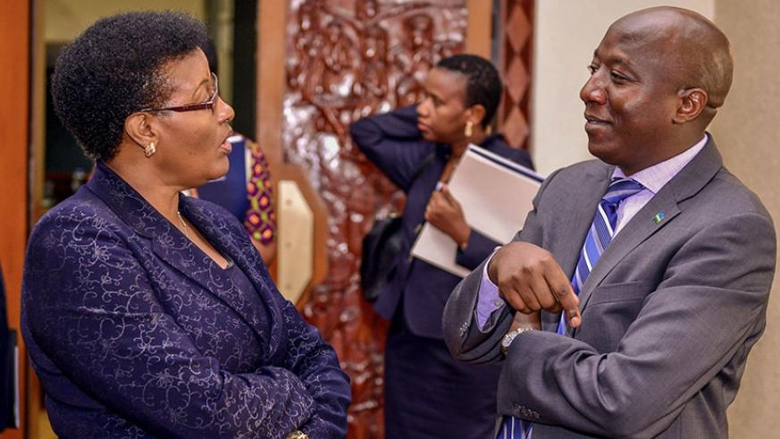 PM Ngirente chats with Speaker Donatille Mukabalisa after the session. N Imbabzi.