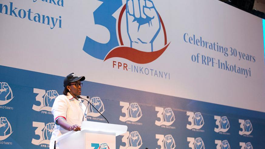 First Lady Jeannette Kagame speaking during the RPF Women's League Extraordinary Congress, which saw close to 2,000 women participate.