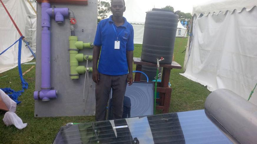 A solar water heater made by Integrated Polytechnic Regional Centre. / Joan Mbabazi