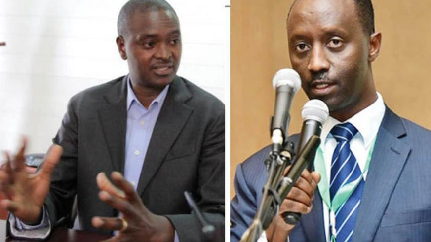 Eric Rutabana (left) has replaced Alex Kanyankole (right), who has been BRD's chief executive since 2013. (File)