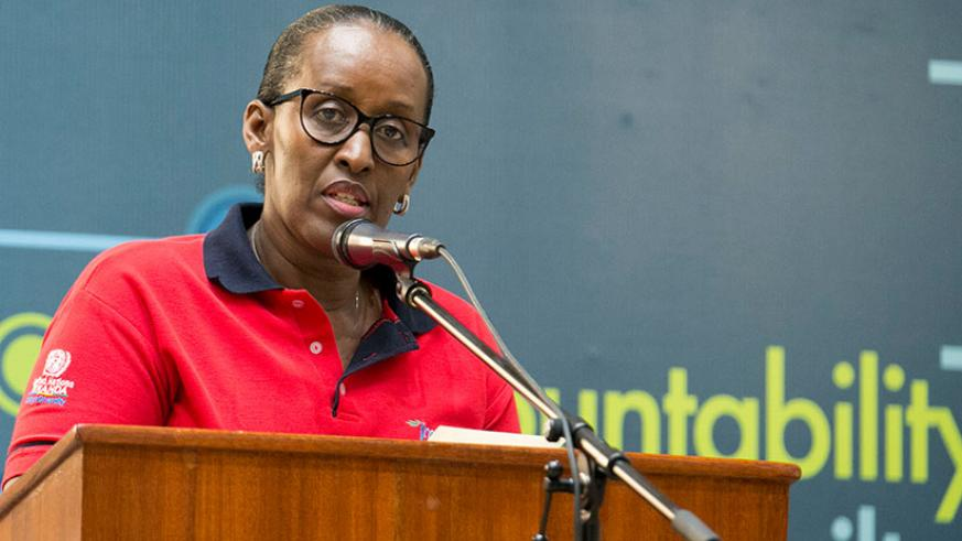 First Lady and Chairperson of Imbuto Foundation, Mrs Jeannette Kagame delivering the opening remarks during the Youth Forum Series themed Beyond This Moment 2.0  which was held in ....