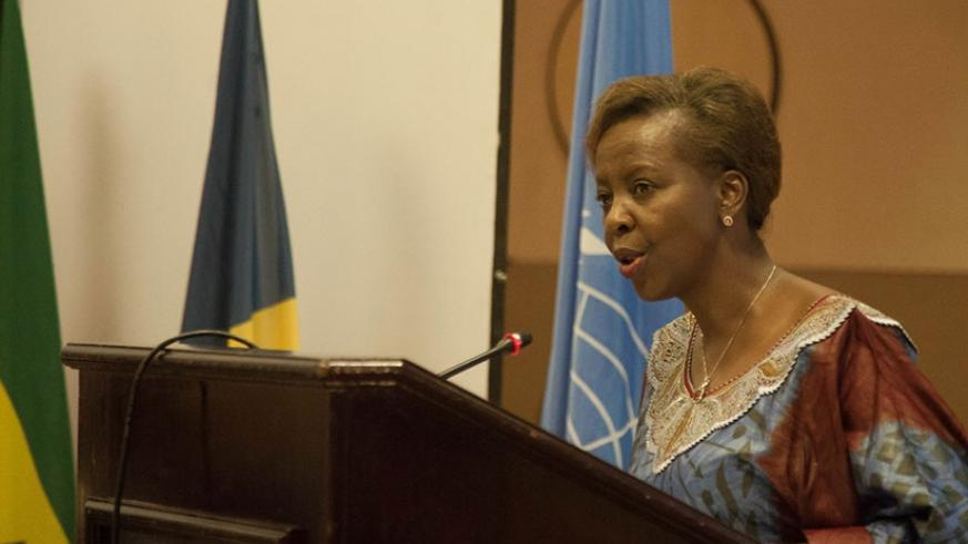 Mushikiwabo speaks at the meeting yesterday.