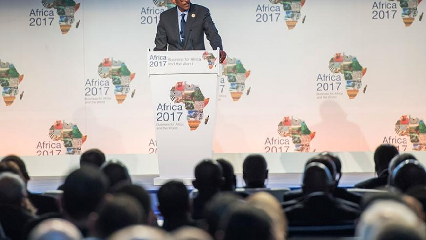 President Kagame delivers his remarks at the official opening of the 2nd Africa Business Forum in Sharm el Sheikh, Egypt yesterday. Village Urugwiro.