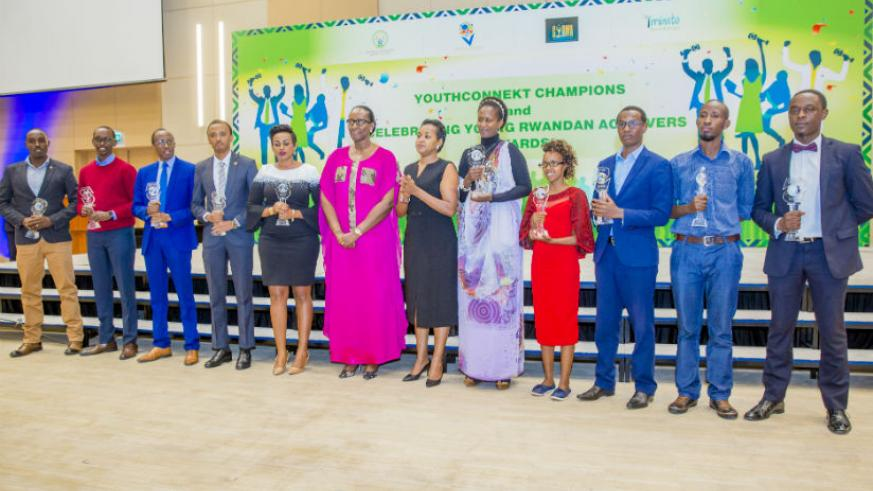 First Lady Jeannette Kagame joins this year's awardees of the YouthConnekt Champions and Celebrating Young Rwandan Achievers awards during the event. / Courtesy