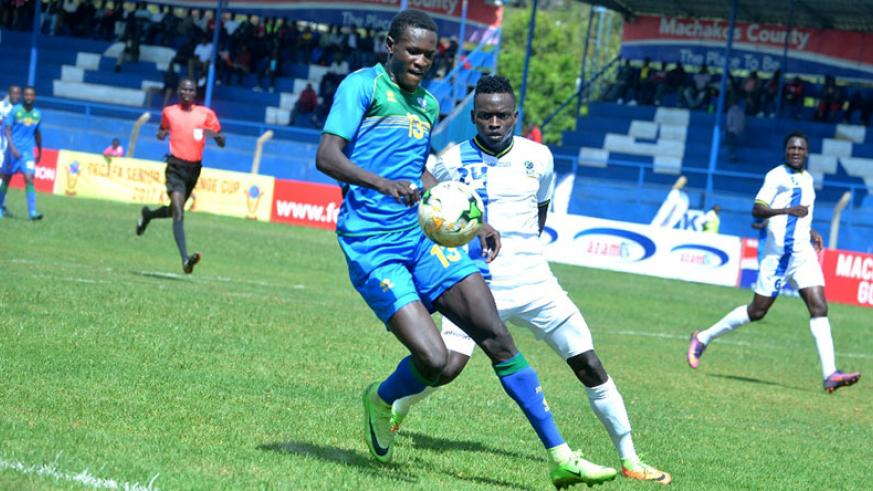 Full-back Fitina Ombolenga was voted Man of the Match after setting up Amavubi's two goals in the 2-1 win over Tanzania on Saturday. / Courtesy