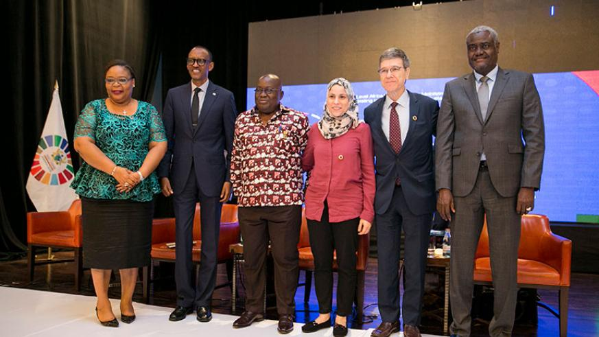 L-R - Leymah Gbowee, Nobel Laureate, UN SDGs Advocate and Director; President Kagame; President Nana Addo Dankwa Akufo-Addo of Ghana; Dr Alaa Murabit, the voice of Libyan Women on ....