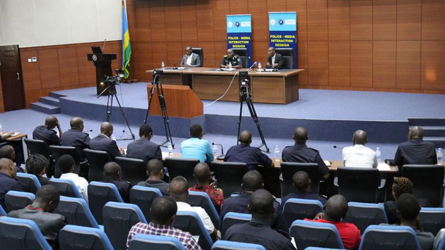 IGP Emmanuel K. Gasana (C) speaking during the Police-media interaction session, yesterday. / Courtesy
