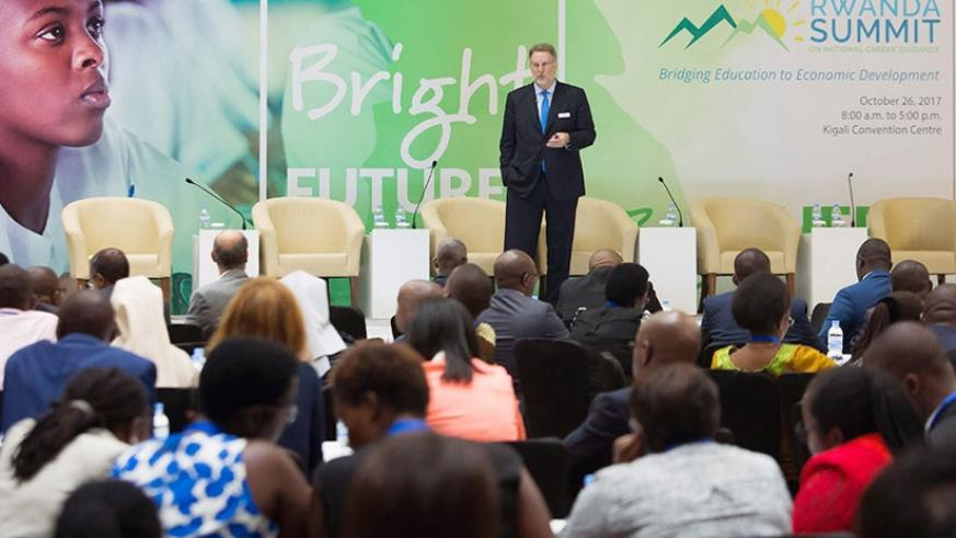 Dr. Spencer Niles, senior vice-president of research at Kuder, speaks at the career summit in Kigali