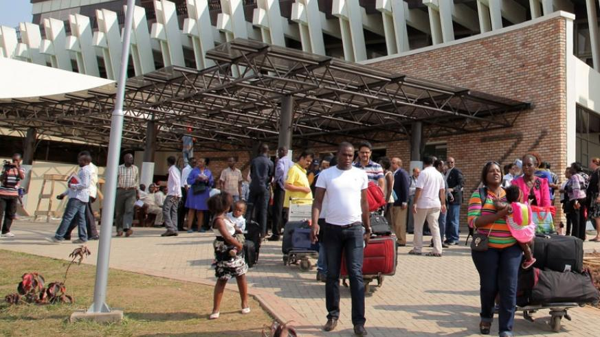 Passengers at the arrivals section at Kigali International Airport. File.