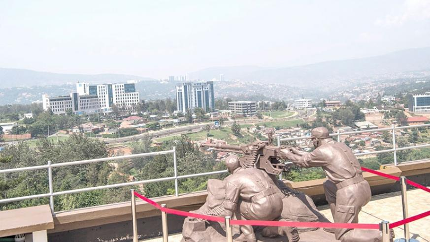 The monument depicting RPA soldiers and a heavy machine gun at the rooftop of Parliament that generated the firepower that played a key role in repulsing attacks from the FAR genoc....