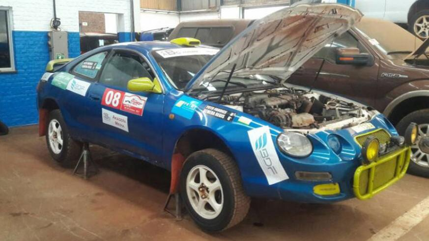 Fabrice 'Yoto' Nyiridandi's Toyota Celica being prepared and fine-tuned for the final race of the season. Courtesy.