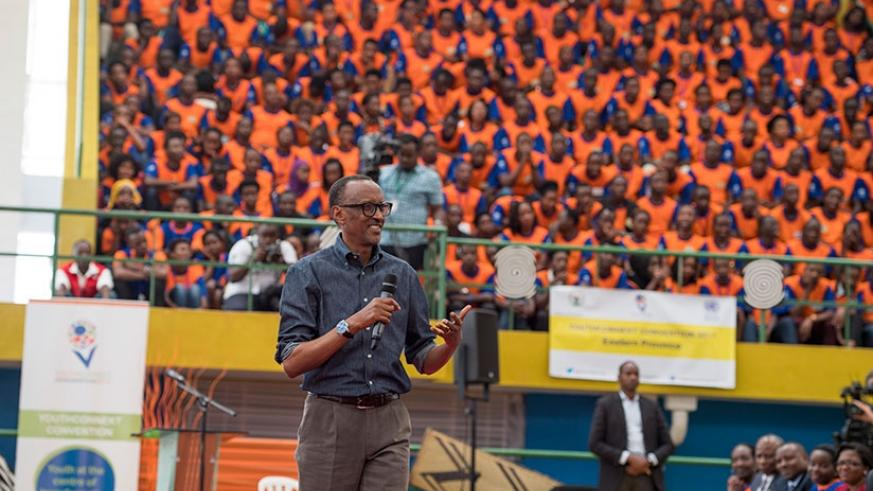 President Kagame addresses the youth at the YouthConnekt Convention 2017 at Petit Stade in Remera, Kigali ,yesterday. Village Urugwiro.
