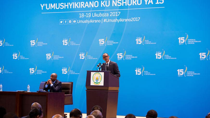 President Kagame delivers his State of the Nation address at Kigali Convention Centre earlier today. He also used the occasion to open the annual National Dialogue Council or Umush....