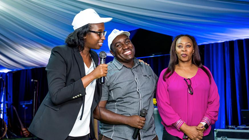 Diane Karusisi, Bank of Kigali CEO (L), speaks during the event. / Courtesy