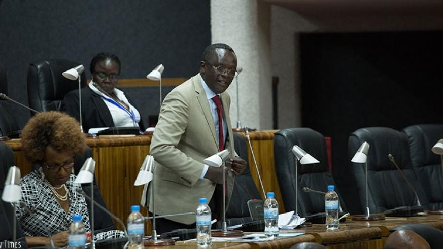 MP Ngoga speaks during a past EALA session in Kigali. / File