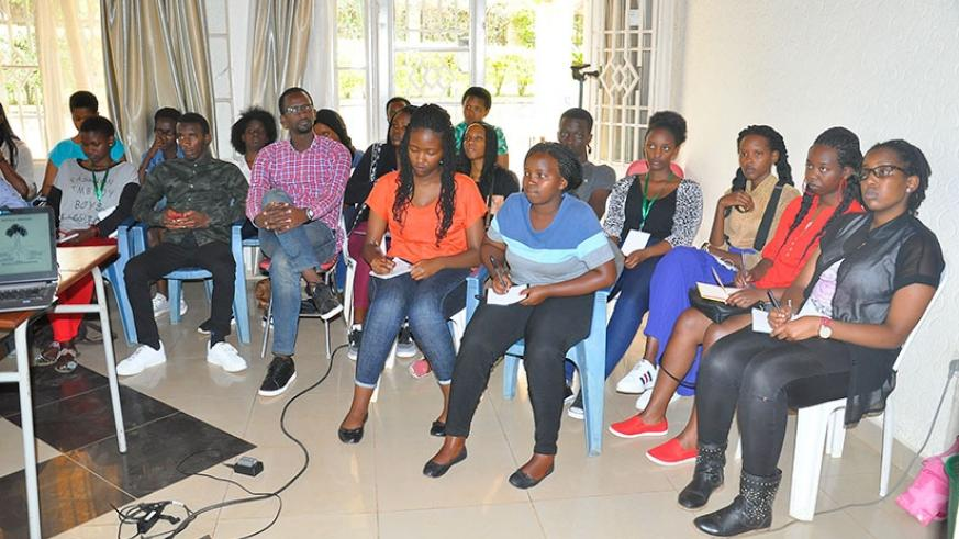 Youth follow proceedings during the camp on drug abuse. /Lydia Atieno.