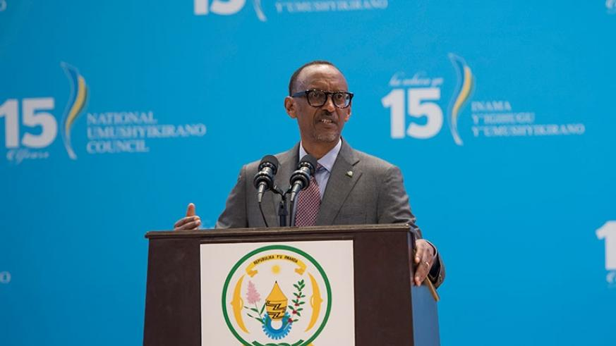 President Kagame addresses the 15th Umushyikirano at the official closure of the annual gathering at Kigali Convention Centre yesterday. Village Urugwiro.