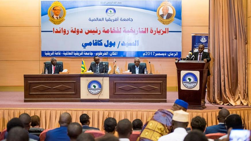 President Kagame addressed students at the International University of Africa in Sudan. (Courtesy photo)
