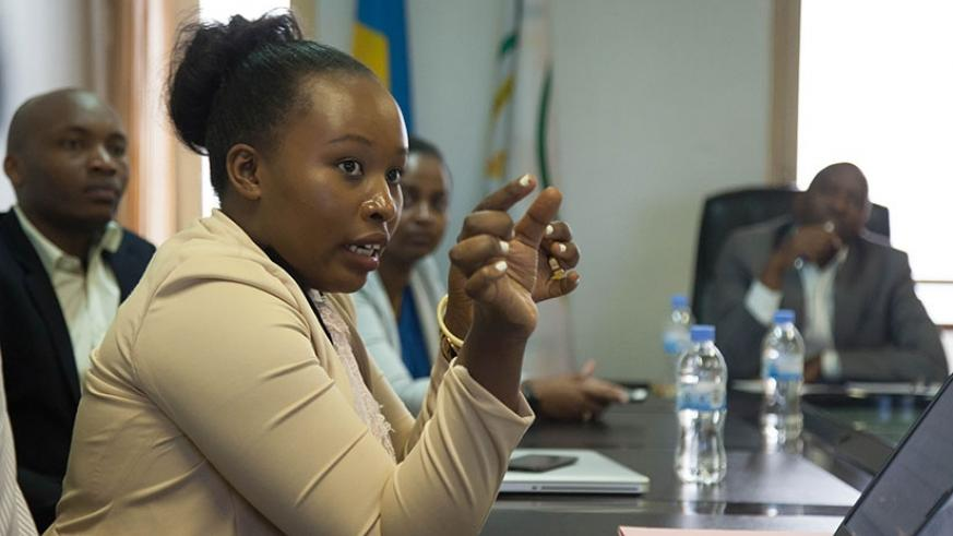 Musanabaganwa makes a point during the meeting with senators yesterday. Nadege Imbabazi.